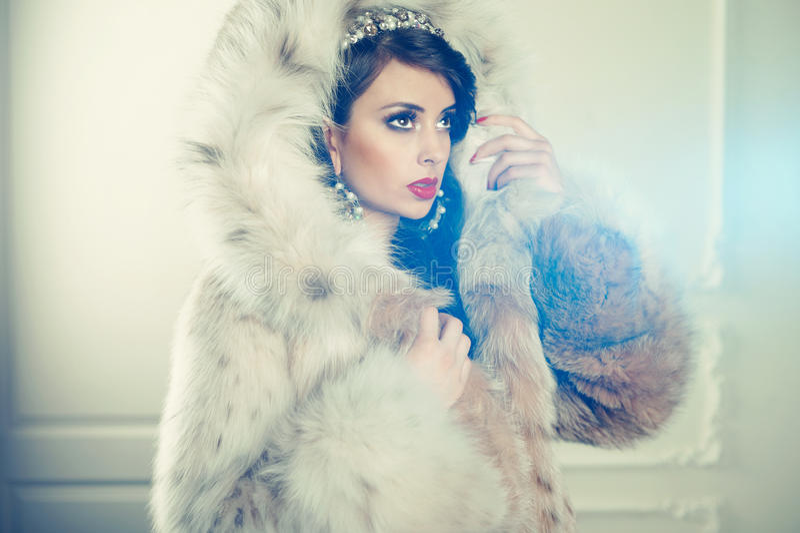 Signora in pelliccia lussuosa immagine stock libera da diritti