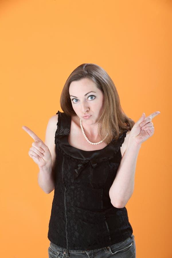 Signora Points Her Fingers fotografia stock libera da diritti