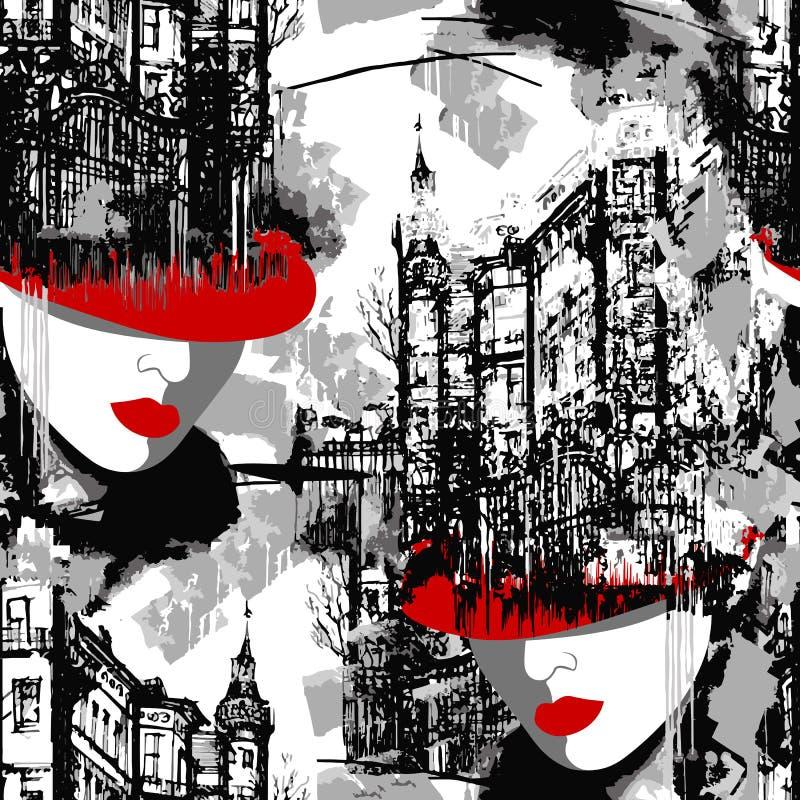 Signora In Red Eleganza Parigi Modello senza cuciture del paesaggio urbano con una donna in un cappello rosso illustrazione di stock