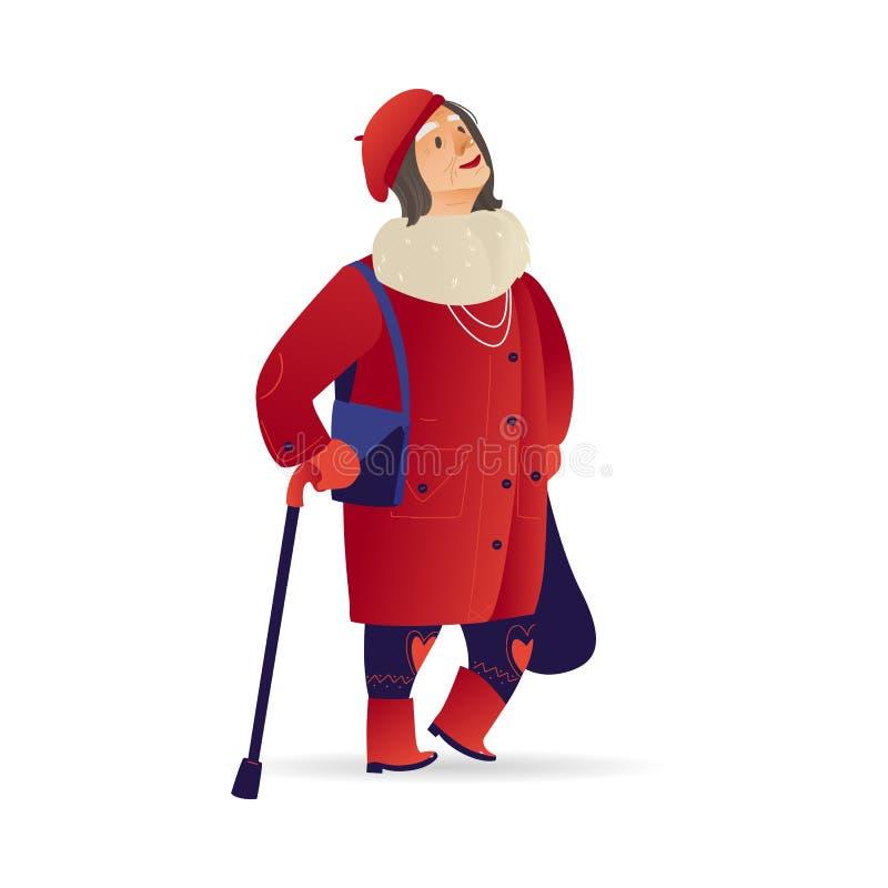 Signora senior della donna anziana di vettore che cammina all'inverno illustrazione di stock