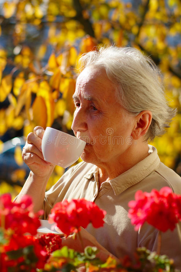 Signora senior Drinking Tea fotografia stock