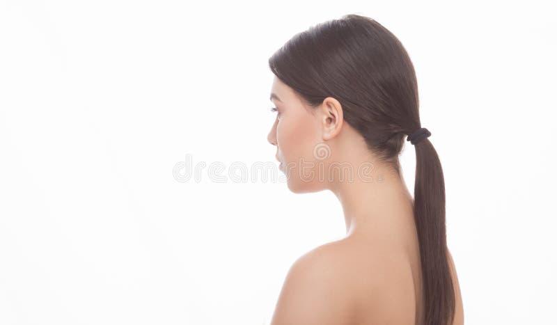 Signora senza camicia sopra fondo bianco fotografie stock