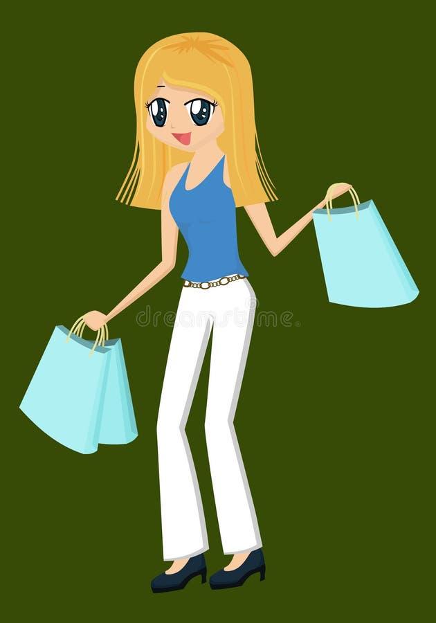 Signora Shopping royalty illustrazione gratis