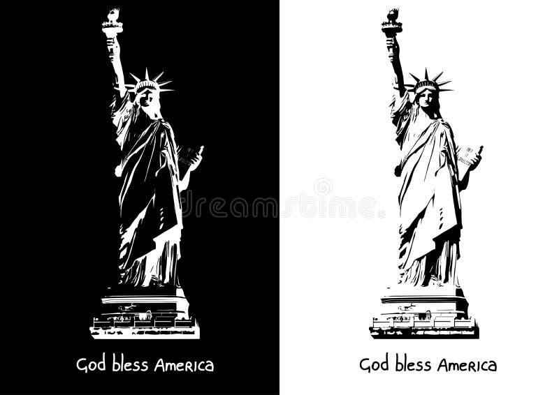 Signora - statua della siluetta in bianco e nero di immagine di vettore di jpg di Liberty Independence ENV ai illustrazione vettoriale
