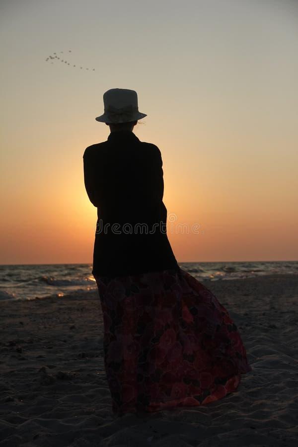 Signora sul tramonto fotografie stock