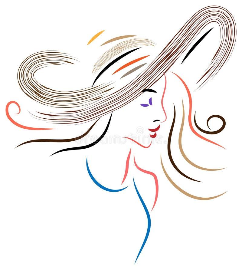 Signora in un cappello royalty illustrazione gratis