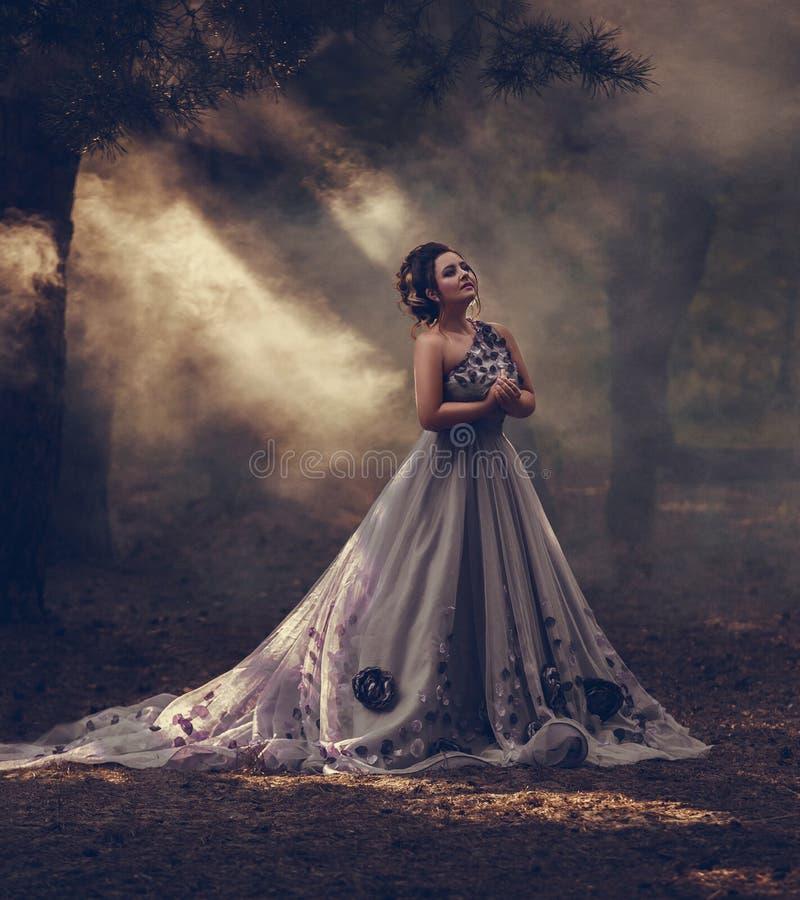 Signora in un vestito porpora fertile di lusso fotografia stock libera da diritti