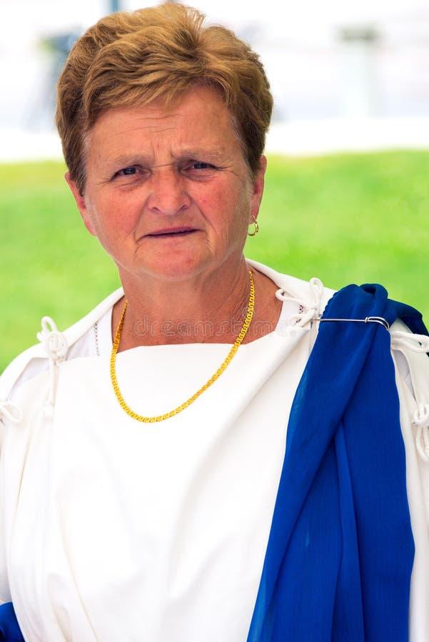 Signora vestita in toga romana fotografia stock