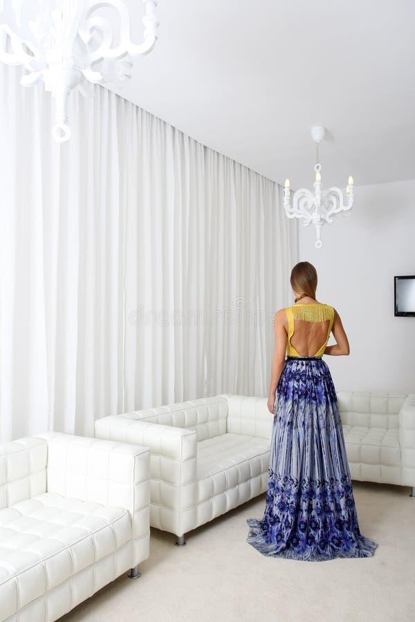 Signora in vestito elegante fotografia stock libera da diritti
