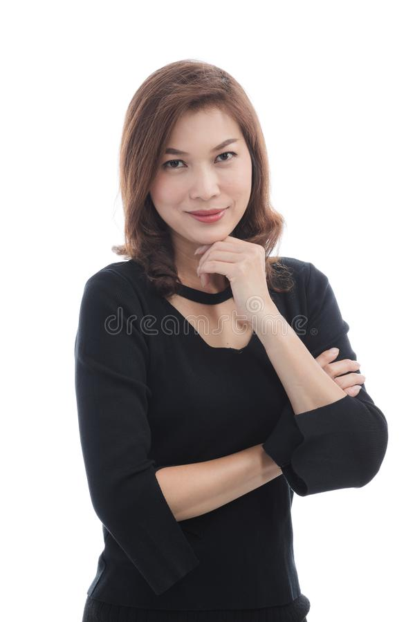 Signora in vestito nero fotografia stock