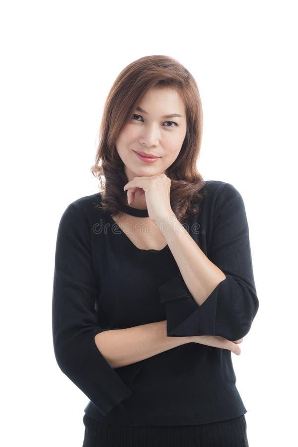 Signora in vestito nero fotografie stock