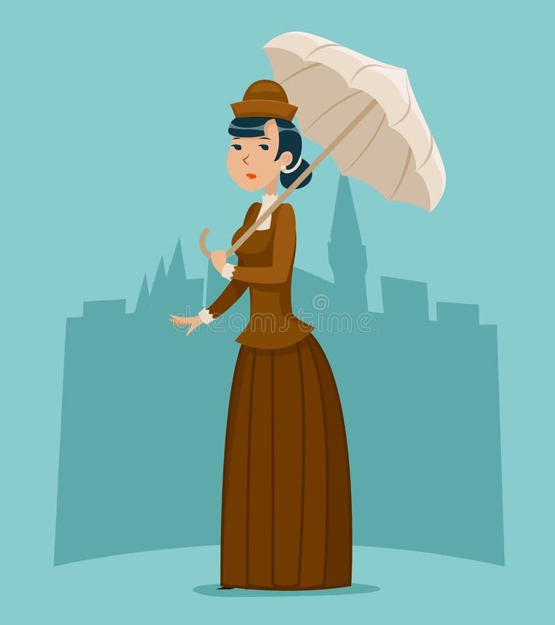 Signora vittoriana Businesswoman Character Icon del fumetto ricco sulle retro grande d'annata del fondo inglese alla moda della c illustrazione vettoriale