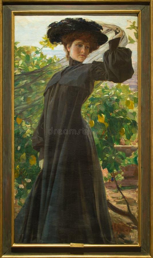 ` Signora w nero ` 1903 Alfredo Savini obraz royalty free