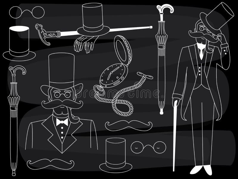 Signore della lavagna di vettore messo con gli accessori d'annata illustrazione di stock