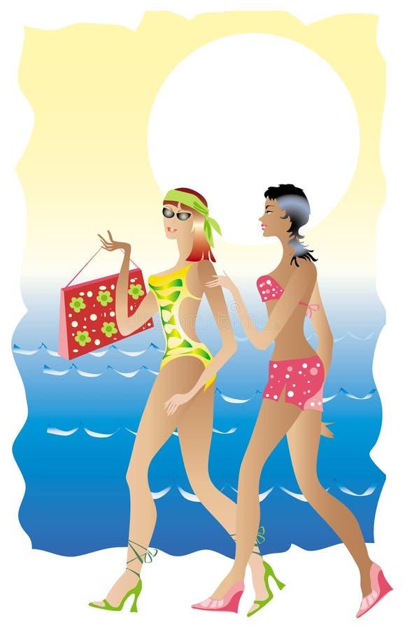 Signore della spiaggia illustrazione di stock