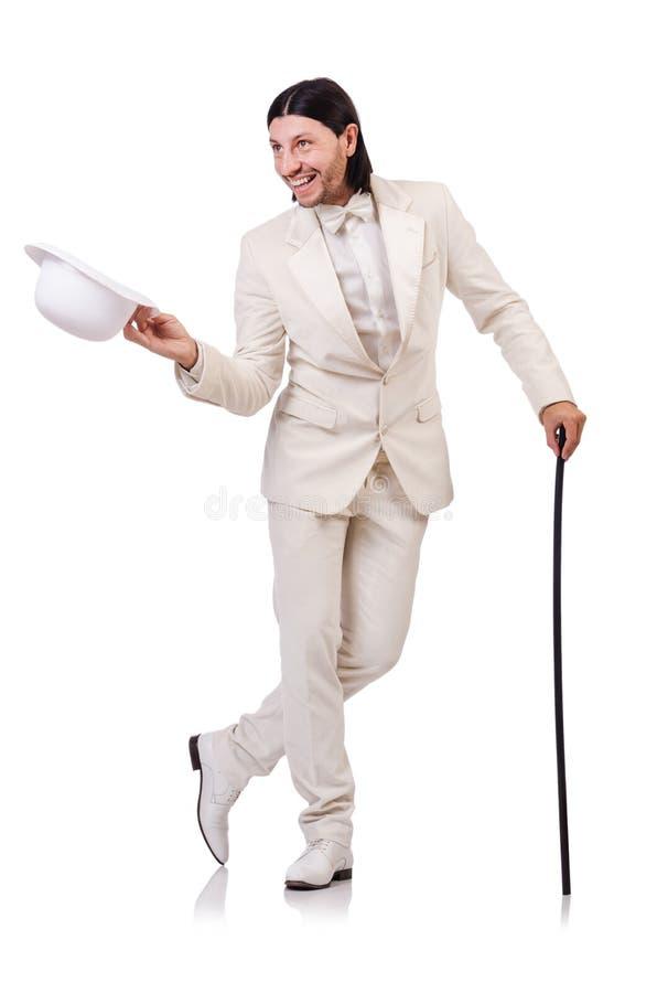 Signore in vestito bianco isolato sul bianco fotografia stock libera da diritti