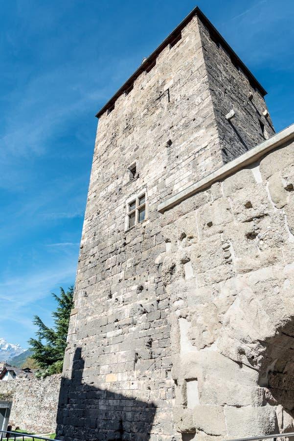 Signori di Porta S del dei de Torre Orso en Aosta, Italia imagen de archivo