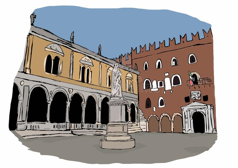 Signori kwadraty, Verona ilustracja wektor