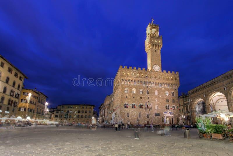 signoria för piazza för dellaflorence italy natt arkivfoton