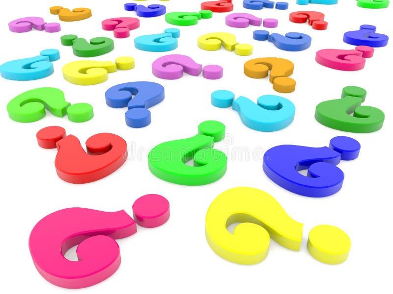 Signos de interrogación en diversos colores stock de ilustración