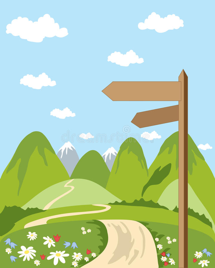 Signpost. A hand drawn illustration of a signpost in beautiful countryside with snow capped mountains and blue sky stock illustration