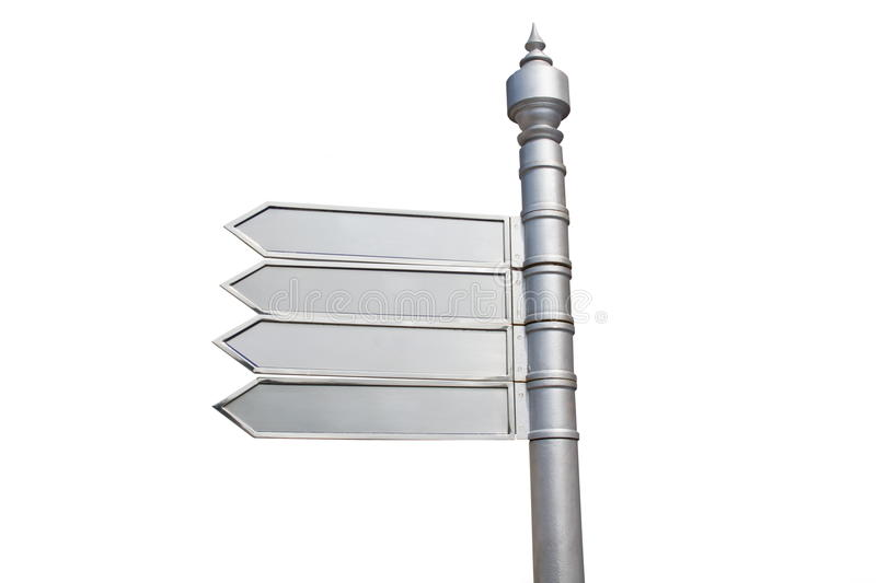 Signpost. Aluminium signpost on white background stock photo