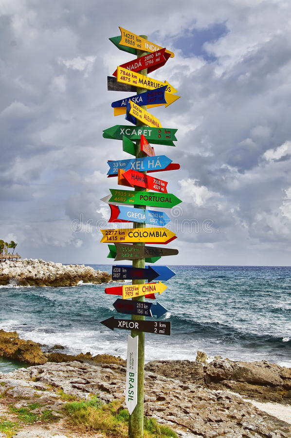 Signpost. With directions to different places on the Earth stock photos