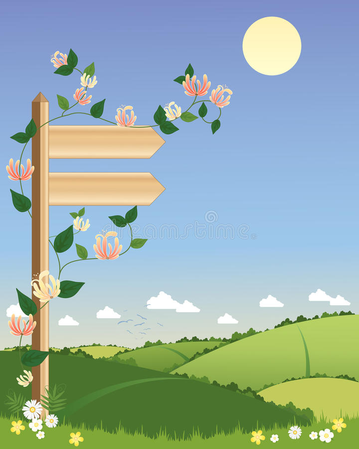 Signpost. An illustration of a wooden signpost with climbing honeysuckle pointing towards a scenic footpath with hedgerows under a summer blue sky vector illustration