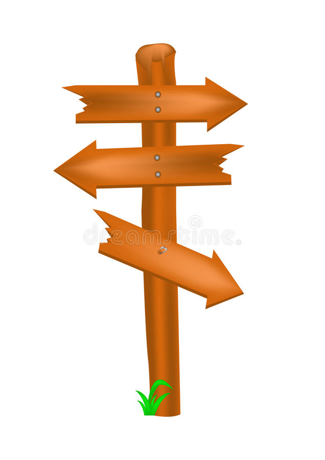 Signpost. Wood on the white background vector illustration