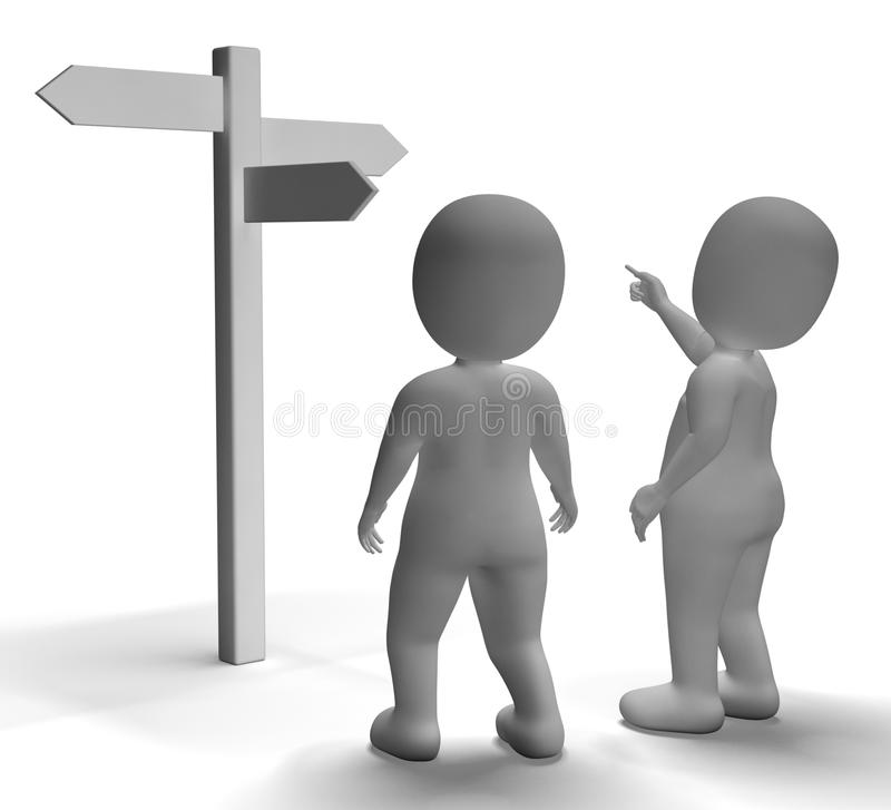 Signpost With 3d Characters Showing Travelling Or Guidance. Signpost With 3d Characters Shows Travelling Or Guidance stock illustration