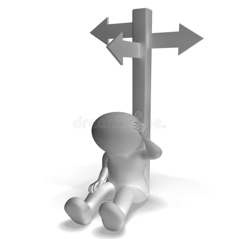 Signpost And 3d Man Showing Confusion And Decision Stock Photography