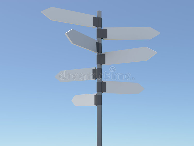 Signpost. Clear signpost over blue sky royalty free illustration