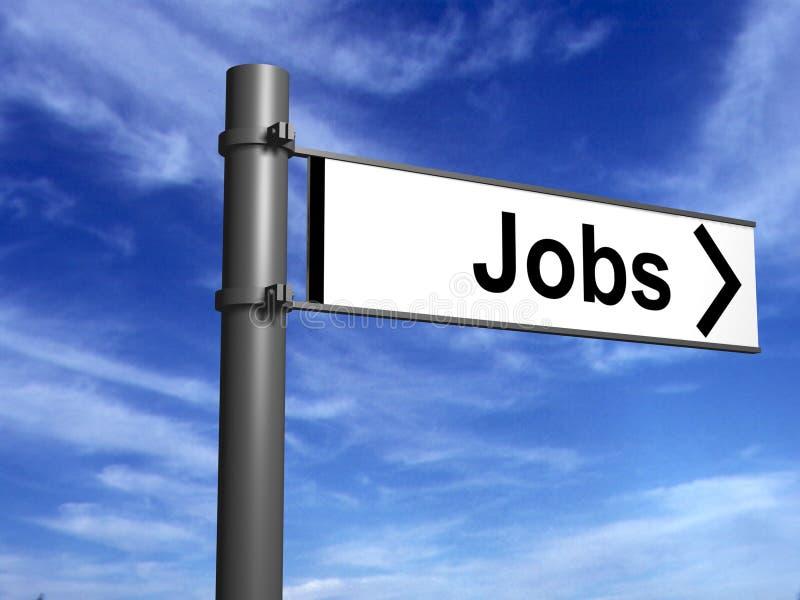 Signpost ai nuovi job fotografia stock