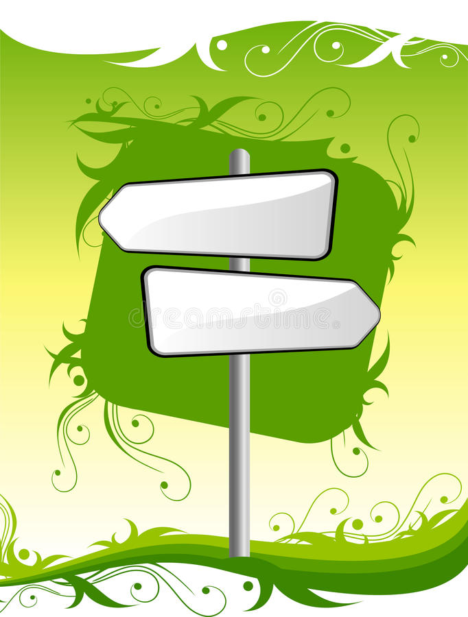 Signpost auf grünem Hintergrund vektor abbildung