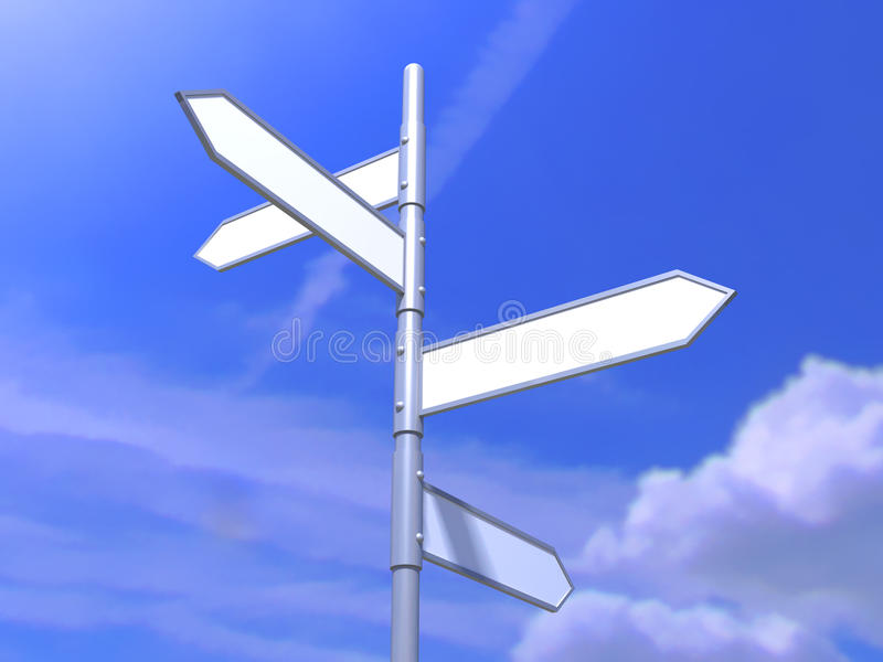 Signpost on beautiful background of blue sky royalty free stock photo