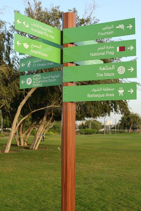 Signpost in Bidda Park, Qatar. BIDDA PARK, Doha, Qatar - March 21, 2018: A signpost in the newly opened Bidda Park in the centre of Qatar`s capital,indicating royalty free stock photos