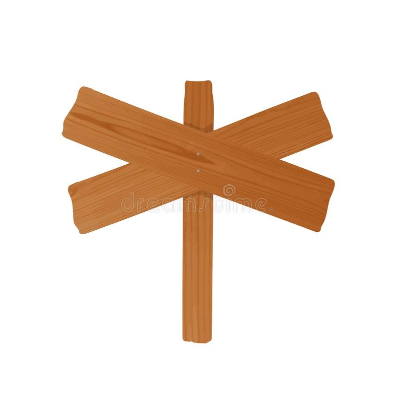 Signpost or billboard made of pair of crossed rough wooden planks and pole nailed together. Empty unhewn signboard. Isolated on white background. Cartoon design royalty free illustration