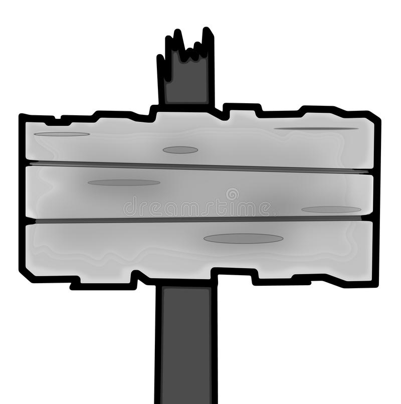 Signpost blank. Drawing old empty signpost made of grey wooden board, simple illustration stock illustration