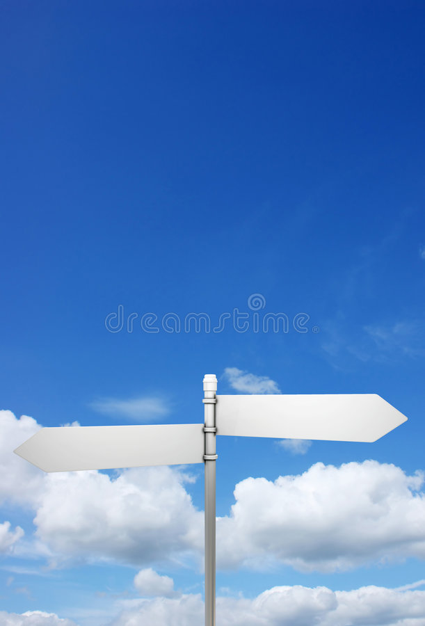 Signpost in blue sky. With fluffy white clouds vector illustration
