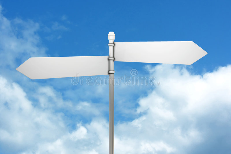 Signpost in blue sky with clouds. Signpost in blue sky with fluffy white clouds royalty free illustration