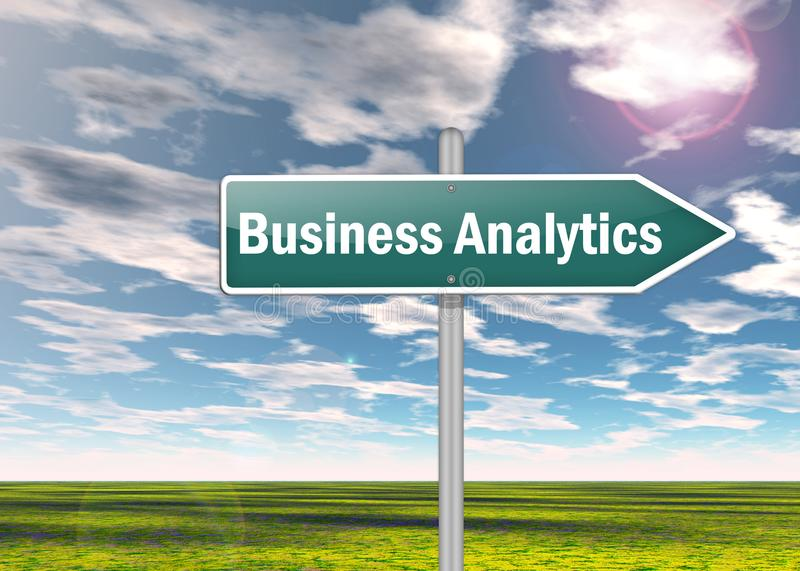 Signpost Business Analytics. Signpost with Business Analytics wording royalty free illustration