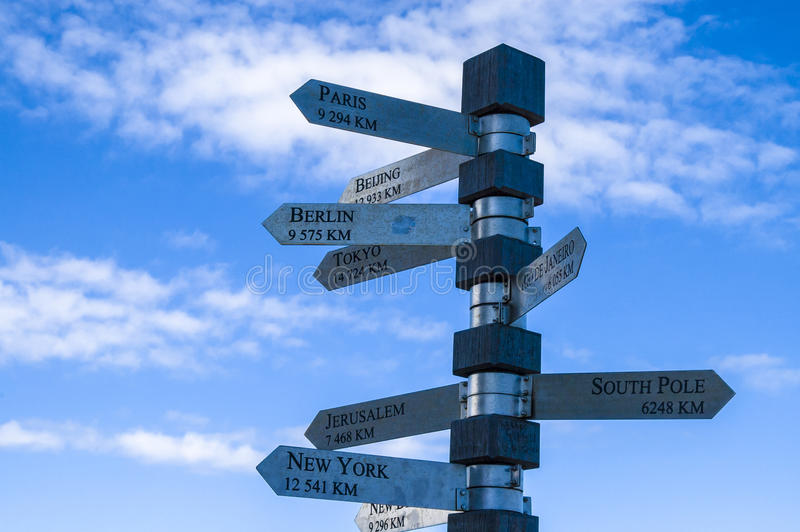Signpost at Cape Point. South Africa stock photos