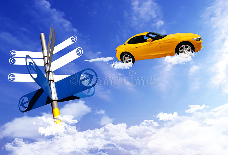 Signpost with car on blue sky background. stock image