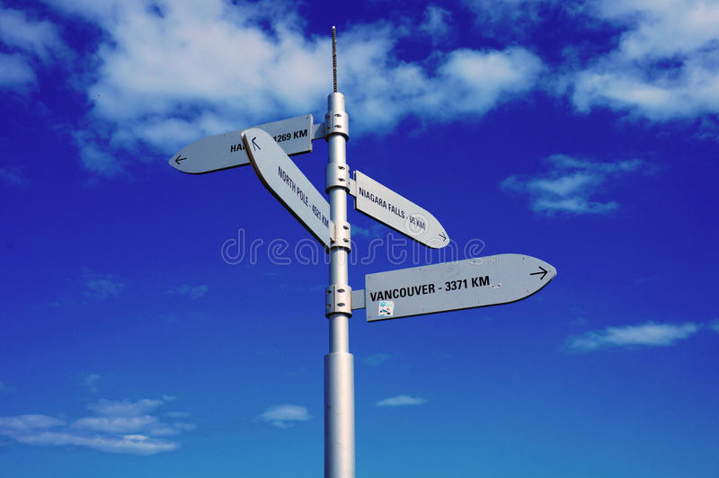 Signpost on Centre Island in Toronto stock photos