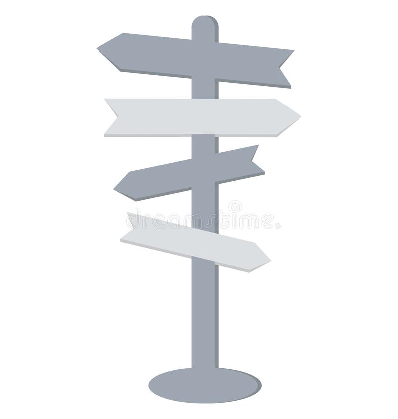 Signpost Color Vector Isolated Icon Editable royalty free illustration