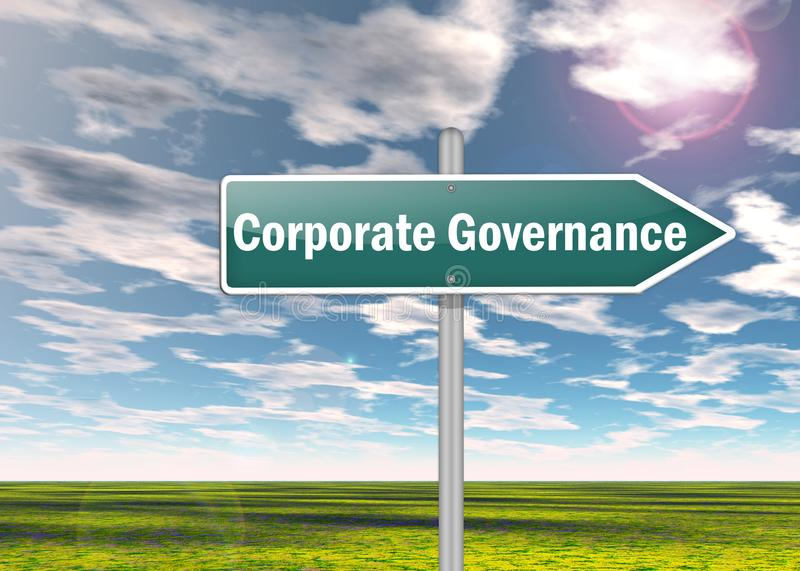 Signpost Corporate Governance. Signpost with Corporate Governance wording vector illustration