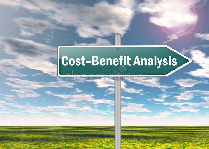 Signpost Cost-Benefit Analysis. Signpost with Cost-Benefit Analysis wording stock illustration