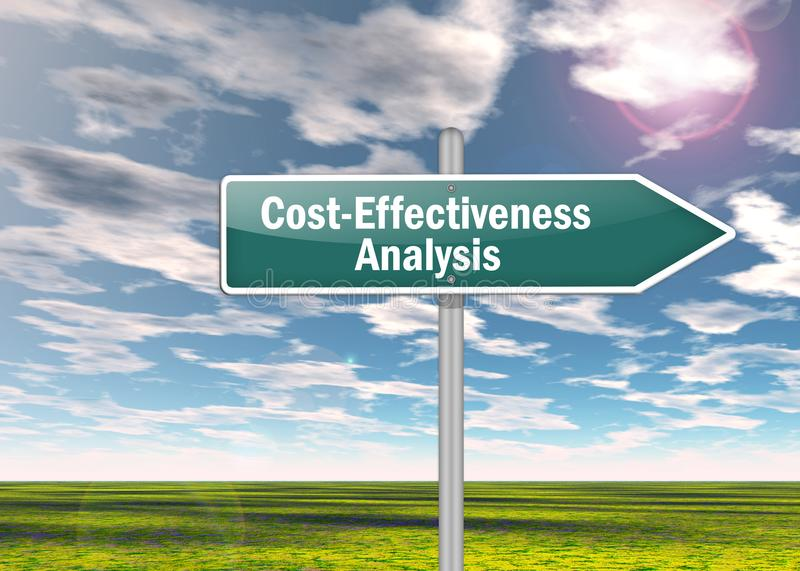 Signpost Cost-Effectiveness Analysis. Signpost with Cost-Effectiveness Analysis wording stock photography