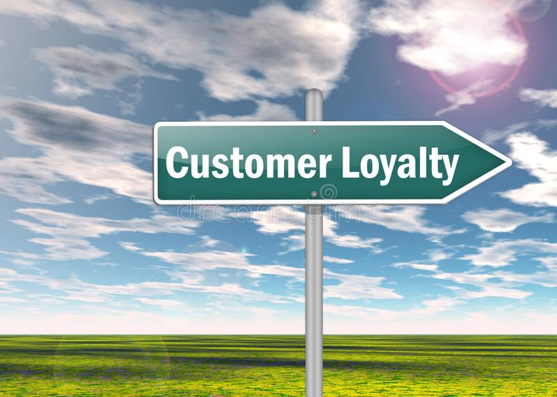Signpost Customer Loyalty. Signpost with Customer Loyalty wording stock illustration