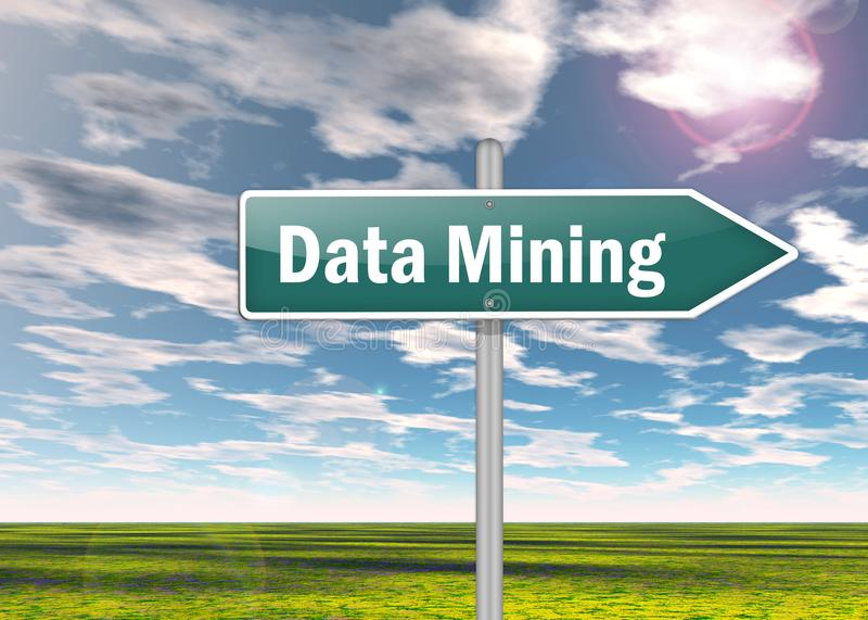 Signpost Data Mining vector illustration